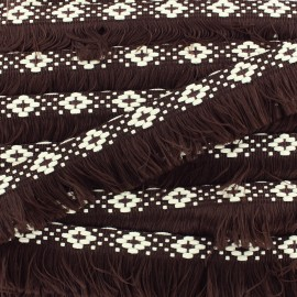 Bohemia fringe trimming ribbon 30mm - dark brown x1m