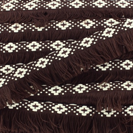 Bohemia fringe trimming ribbon 30mm - dark brown x1m