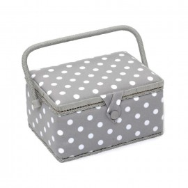 Boîte à couture Pois taille M - gris