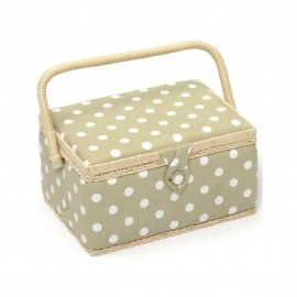Sewing box Dots size M - ficelle