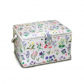 Sewing box Spring garden size XL - grey blue