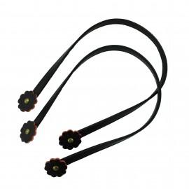 Leather imitation Bag-handles Flower - black