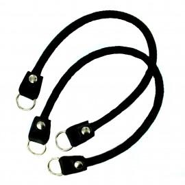Braided leather imitation Bag-handles Style - black