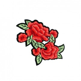Old School Flower iron on patch  - rose D