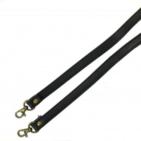 Leather shoulder bag handle - black