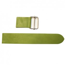 Leather strap with sliding bar adjuster, Moss - moss green