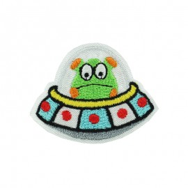 Crazy Space iron on patch - flying saucer