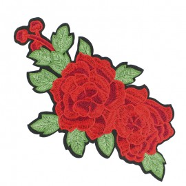 Old School Flower iron on patch  - rose F