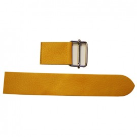 Leather strap with sliding bar adjuster, Mostaza - mustard yellow
