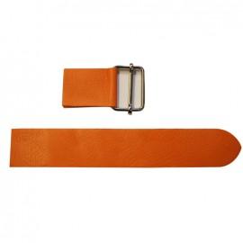 Leather strap with sliding bar adjuster, Naranja - orange