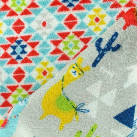 Double sided baby's security blanket Guanaco - red/celadon x 10cm