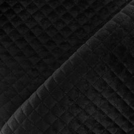 Quilted velvet fabric Baryton - black x 10cm
