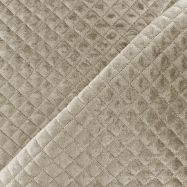 Quilted velvet fabric Baryton - taupe x 10cm