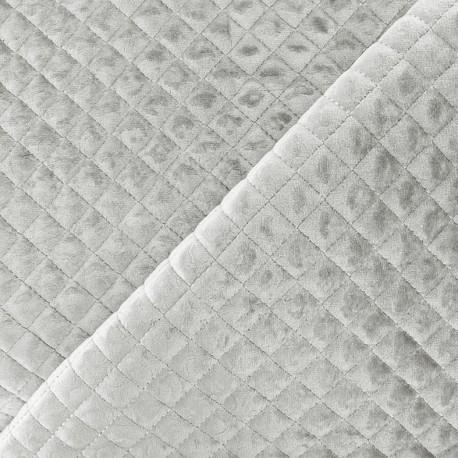 Quilted velvet fabric Baryton - light grey x 10cm