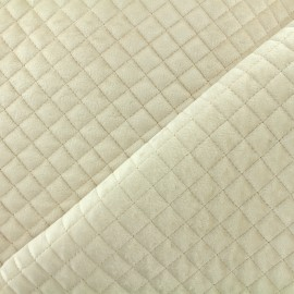 Quilted velvet fabric Baryton - light beige  x 10cm