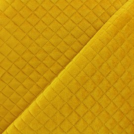 Quilted velvet fabric Baryton - yellow x 10cm