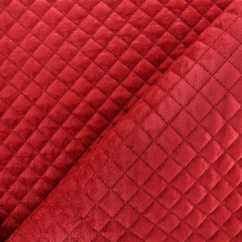 Quilted velvet fabric Baryton - red x 10cm