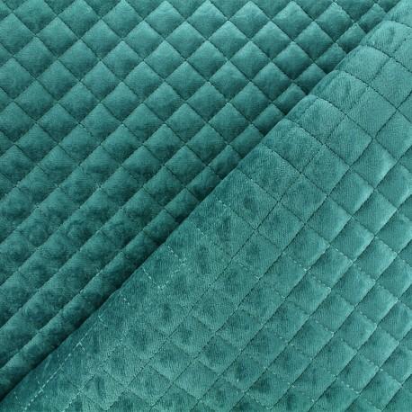 Quilted velvet fabric Baryton - teal x 10cm