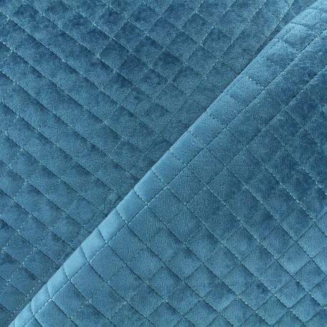 Quilted velvet fabric Baryton - blue x 10cm