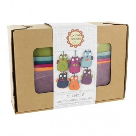 Kit créatif feutrine de laine - Les chouettes joyeuses