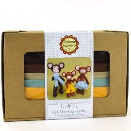 Kit créatif feutrine de laine - La famille Singe