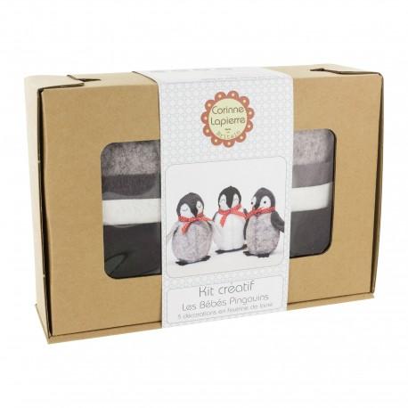 Kit créatif feutrine de laine - Les bébés pingouins