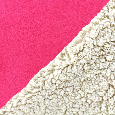 Fur fabric double face sheep and Suede Soft - fuchsia x 10cm