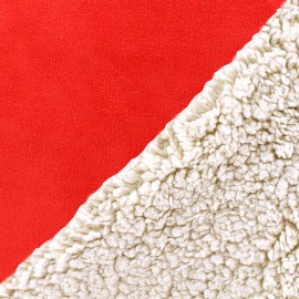 Fourrure mouton réversible aspect suédine Soft - rouge x 10cm