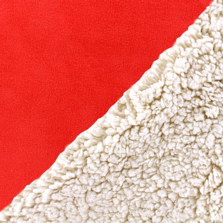 Fur fabric double face sheep and Suede Soft - red x 10cm