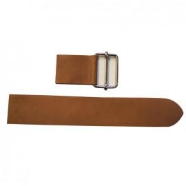 Leather strap with sliding bar adjuster, Noce - chestnut