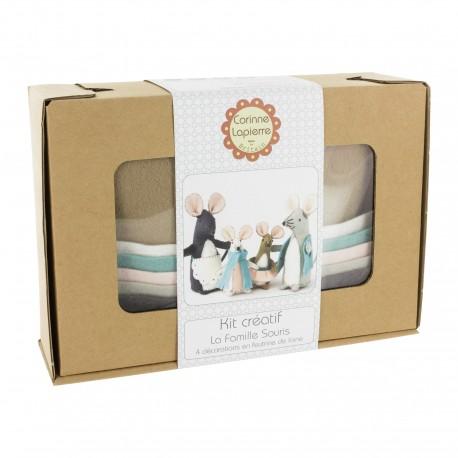 Kit créatif feutrine de laine - La Famille souris