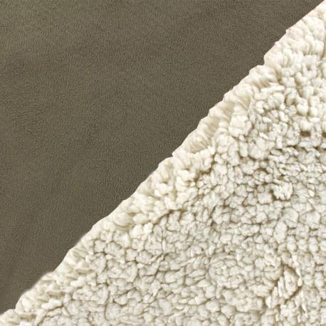 Fourrure mouton réversible aspect suédine Soft - taupe foncé x 10cm