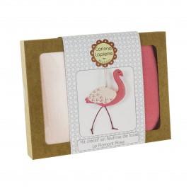 Kit créatif feutrine de laine - Le Flamant Rose