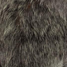 ♥ Coupon tissu 130 cm X 145 cm ♥ Fourrure haute qualité Abramo - anthracite/rouille
