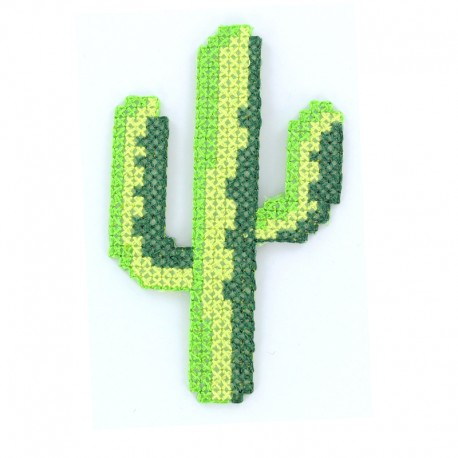 Tropicana canvas iron-on patch - cactus