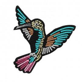 Thermocollant brodé  Gloriette - oiseau vert