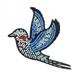 Gloriette embroidered iron-on patch - blue bird