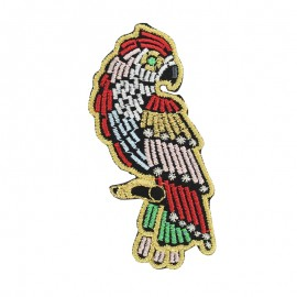 Gloriette embroidered iron-on patch - parrot