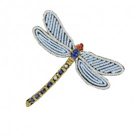 Gloriette embroidered iron-on patch - blue dragonfly