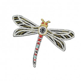Gloriette embroidered iron-on patch - silver dragonfly