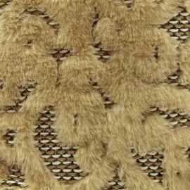Tissu fourrure jacquard - beige x 10 cm