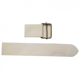 Leather strap with sliding bar adjuster, Off - off-white