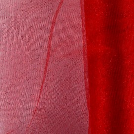 Tulle souple pailletté au mètre Rouge