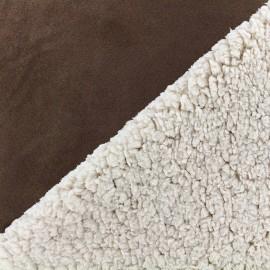 Fourrure mouton réversible aspect suédine Soft - chocolat x 10cm