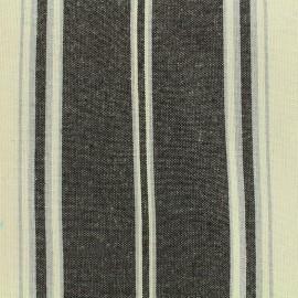 Tissu toile coton rayures - noir x 10cm