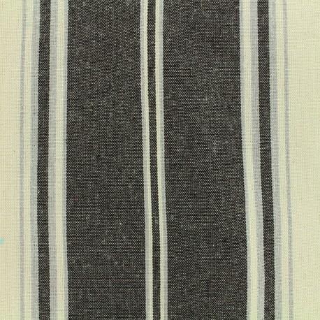 Striped cotton canvas fabric - black x 10cm