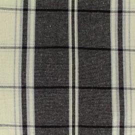 Tissu toile coton lin carreaux - noir