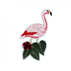 Tropicana embroidered iron-on patch - flamingo XL