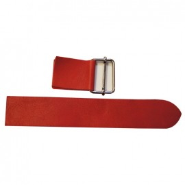 Leather strap with sliding bar adjuster, Rosso - red