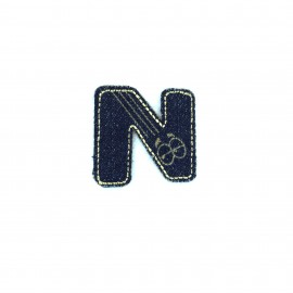 Numbers and Letters Denim Iron-on patch / Sticker - N